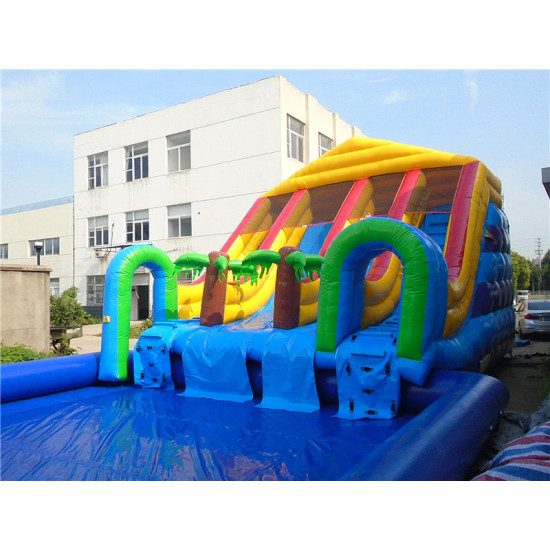 Custom Inflatable Water Parks Pool With Slide And Toys On Land